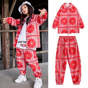 Nuova Hip Hop Girls Jazz Hip Hop Costumi da ballo per bambini Camicia rossa Pantaloni hiphop pantaloni rave vestiti da ballo da ballo Dance Dress Stage Abiti DQS335
