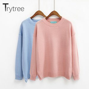 Trytree Autumn Winter Women Sweater Casual O-Neck Acrylic Sweater Solid Casual 14 Colors Pullovers Computer Knitwear Thin Tops J1202