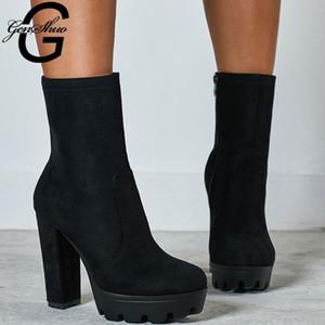 Genshuo Frauen Stiefel auutmn Knöchel Botos für Frauen High Heels Schuhe Frau Block Heels PLTForm Winter Botas Mujer Plus Größe 35-42