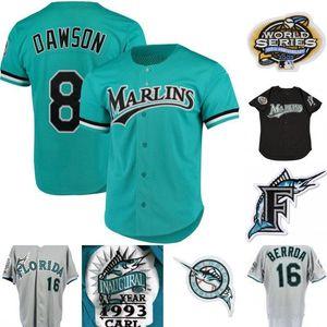 Mens Marlins Jersey 8 Andre Dawson 3 Carl Everett 13 John Booles 16 Geronimo Berroa 31 Mike Piazza 35 Dontrelle Willis Retro Baseball Jersey