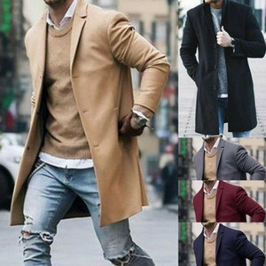 Imcute New Arrival Fashion Men's Trench Coat Warm Thicken Jacket Woolen Peacoat Long Overcoat Tops Winter
