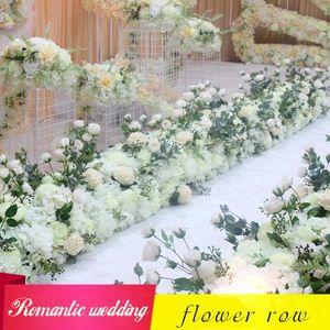 DIY wedding flower wall arrangement supplies silk peonies rose artificial flowers row decor T station wedding iron arch backdrop