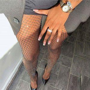 Leggings di diamante di cristallo Donne sexy sexy maglia elastica legging pantaloni donna lucida vedono attraverso scava fuori leggings a vita alta clubwear party