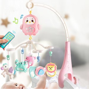 Newborn baby bed bell Teether Rattles Rotating music box with Light Early education Puzzle toys infant sensory toy crib bell Z1124