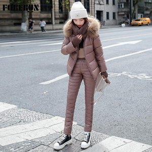 FORERUN Two Piece Set Women Winter Jacket Fur Hooded Puffer Jackets and High Waist Cotton Padded Warm Pants Suits -30centigrade