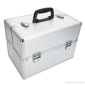 "Pro 14""x9""x10""Aluminum Makeup Train Case Jewelry Box Cosmetic Organizer Silver"