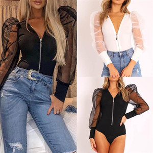Women's Sheer Mesh Puff Sleeve T Shirt Tops Ladies Loose Casual Office Blouse Tops Ladies V Neck Casual Loose Blouse