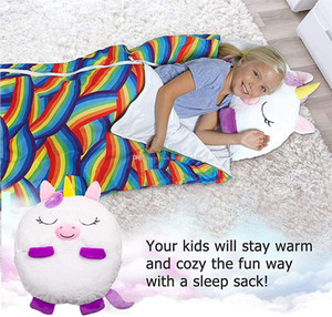 Childre bag sleeping bag Unicorn cartoon happy warm baby sleeping bags soft and comfortable easy to carry sleeping bag pillow children