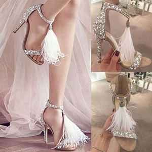 2020 Sexy Feather Rhinestone Sandals High Heels Banquet Wedding Shoes Women Fashion Crystals Bridal Shoes With Zipper Party Stiletto Shoes