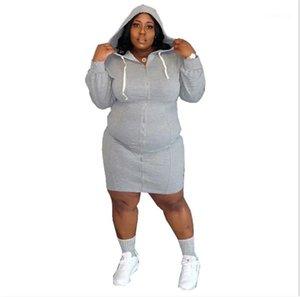 Casual Dresses Sexy Designer Cardigan Damen Kleidung Soild Color Womens Plus Size Dresses Mode Mit Kapuze Designer