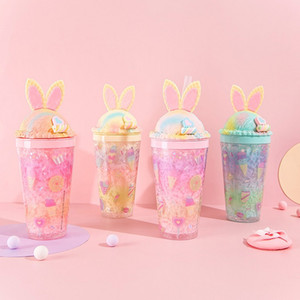 480ml Conejito de conejito de Kawaii Botella de paja de bebida creativa Conejo lindo de hielo Copa de hielo Double Paja Taza de dibujos animados para niña