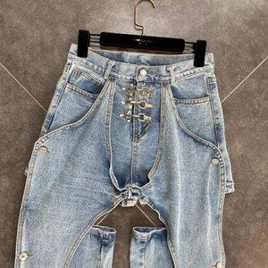 DEAT 2020 Autumn New Arrivals Streetwear High Waist Light Blue Hollow Out Denim Pants Women Jeans MJ858 A1112