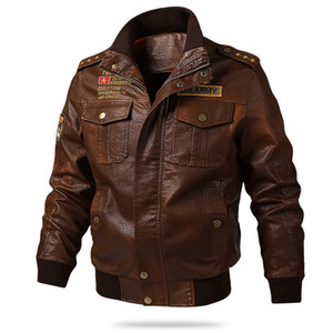 New Brand Leather Jacket Men Vintage Bomber Jacket Multi-pockets Plus Size M-5XL 6XL Spring Autumn Motorcycle Jacket Men