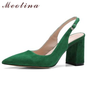 Meotina High Heels Women Pumps Kid Suede Square High Heel Slingbacks Shoes Real Leather Buckle Pointed Toe Shoes Lady Size 34-42