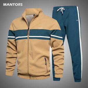 Men Tracksuit Autumn Winter Mens Set Brand Sports Suit Jacket+Pants 2 Pieces Set Fashion Casual Track Suit Men Clothing 201109