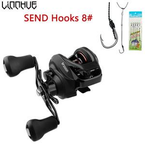 LINNHUE Baitcasting Reel BF2000 High Speed 7.2:1 Right Hand Fresh Saltwater Ultra Light reels Carp Lure fishing Send Hooks Z1128