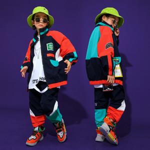 4 -16 Yıl Erkek Kız Hip Hop Giyim Set Mont Çocuklar için Pantolon Tops Sahne Dans Kostüm Balo Salonu Sonbahar Serin Kıyafetler Y1117