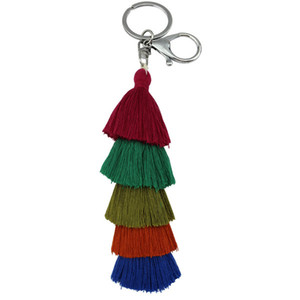 Bohemian 5 Layers Cotton Tassel Keyring for Men Women Bag Car Long Pendant Keychain Handmade Fringe Key Ring Accessories