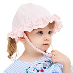 New fashion design Infant Kids Baby Girls Lace Bowknot Beach Cap Princess Sunhat Protection Hats #4A15