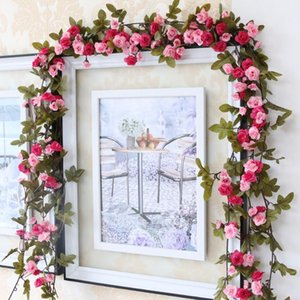 230cm 91in Silk Rose Wedding Decorations Ivy Vine Artificial Flowers Arch Decor with Green Leaves Hanging Wall Garland