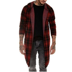 2020 New M-XXXL Men Winter Warm Clothes Long Sleeve Hoodie Hooded Tops Plaid Coat Jacket Casual Outwear Overcoat Dropshipping