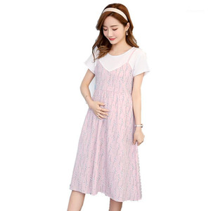 2020 Pregnant Mother Dress summer New Short sleeve medium Long Women Maternity Clothes Loose Fake two pieces Pregnancy dress 6031