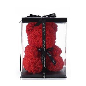 2020 Criativo 25 cm Sólido romântico romântico rosa urso flores com caixa de presente decoração casamento aniversário namorados presentes para namorada