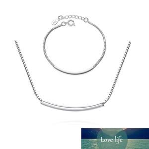 Zierlich S925 Stempel Silber Farbe Gebogene Rohr Halskette + Armband Schmuck Sets Für Frauen Schwester Schmuck