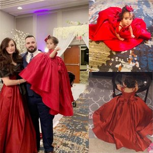 Red Satin Ball Gown Evening Party Dresses Teensager 2021 Off The Shoulder Big Bow Princess Girls Pageant Dress Flower Girl First Communion