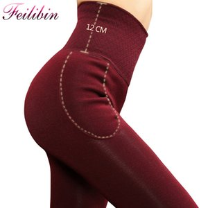 Feilibin Donne Pantaloni invernali Pantaloni Vita dimagrante Addensare addensare High Elastic Women Warm Velvet leggings Y200623