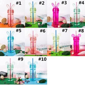 Rabbit Tumblers Colorful Transparent Mouse Ear Water Bottle With Straw and Lid Cup Milke Coffee Mug Girls Gift DHE1469