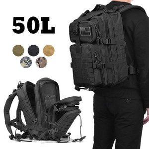 50L Men Large Capacity Army Military Tactical Backpack 3P Softback Outdoor Waterproof Rucksack Sport Hiking Camping Hunting Bag Y200920