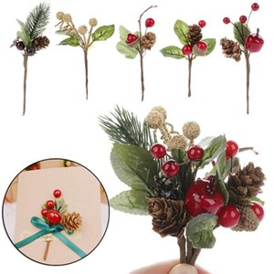 5pcs set Artificial Plant Christmas Pine Cones Plastic Dried Flower Greeting Card Accessories DIY For Birthday Festive Flowers
