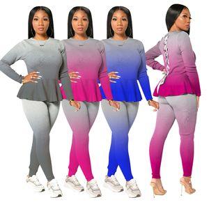 Gradient Color Womens Two Piece Pants Sexy Long Sleeve Crew Neck Ruffle Fashion Slim 2PCS Set
