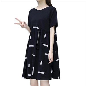 Loose Dresses Fashion Women knee Length Short Sleeve Splicing Round Collar Dress Drop Shipping Good Quality