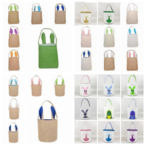 Easter Rabbit Bucket Easter Bunny Basket Jute Kids Egg Candies Baskets Gifts Candy Canvas Barrel Tote Easter Festiva Handbags Bags ZYDQD7380
