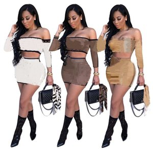 Women crop top+ skirt two piece set sexy dress suits fashion long sleeve sweatshirt+package hip skirt sexy top+mini skirt DHL 4464