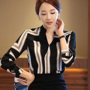 Women Tops Blouses 2020 Spring Summer Elegant Long Sleeve Striped V Neck Chiffon Blouse Female Work Wear Shirts Blouse Plus Size