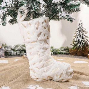 White Plush Hanging Christmas Stocking Gift Bag Home Party Decoration Ornament
