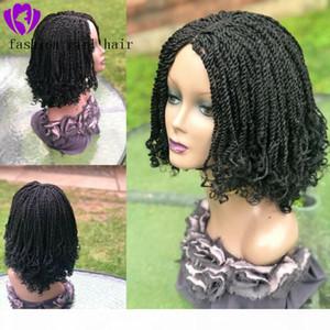 Handtigado preto marrom loira trançada lace peruca curly curly tranças dianteiras dianteiras de renda sintética cabelo sintético novo bob caixa tranças peruca para mulheres negras