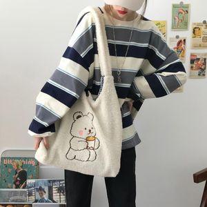 Hylhexyr Women Canvas Tote Purse Lamb Like Fabric Shoulder Bag Bear Embroider Crossbody Handbag Casual Shopper Bag Cute For Girl