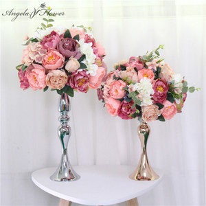 Custom 35cm silk peonies artificial flower ball centerpieces arrangement decor for wedding backdrop table flower ball 13 colors Q1126