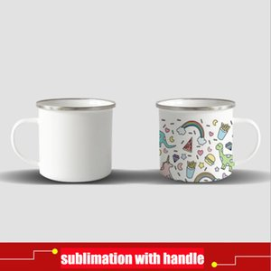 DIY Sublimation 12oz Enamel Mug with Silver Rim 350ml Stainless Steel Enamelled Cup with Handle Blank Tooth Tumblers Water Coffee mug