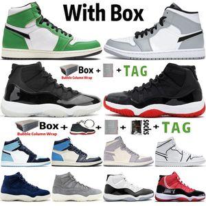 2020 Neue Ankunft Jumpman 1 1s Lucky Green Light Smoke Gray UNC MENS Basketballschuhe 11 11s 25. Jubiläum Concord Sneakers Frauen Trainer