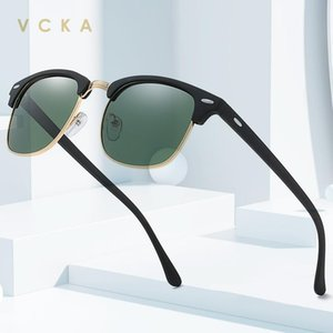 Vcka Classic Semi-Rimless Sonnenbrille Männer Frauen 2020 Quadratisch Polarisierte Sonnenbrille Männer Gafas UV400 Retro Eyewear