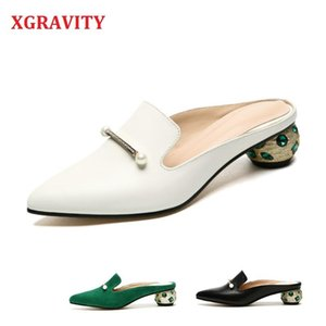 XGRAVITY Crystal Slides Chunky Heel Hot Point Toe Closed Toe Women Sandals Summer Mules Shoes Elegant Strange Heel Slippers A143