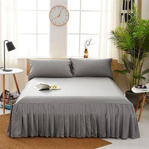 Сплошная романтическая юбка для кровати нескользящая подставная установленная крышка для листа покрывала кроватей для свадебных украшений Крышка кровати с эластичной группой 201218
