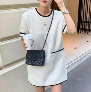 Spring Autumn Casual Style Female Short O Neck Half Sleeve Straight Thick Dress For Women Drop Shipping