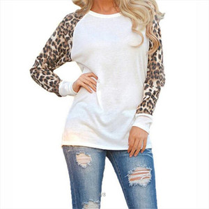 Women Tops and Blouses new Cotton Patchwork 2019 Sleeve Shirt Leopard Fashion Casual O Neck Plus Size Blouse 5XL Blusa Feminina
