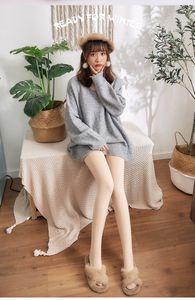 otoño e invierno moda y ropa de calor más terciopelo espeso imitación polainas de nylon pantalones de cintura alta color hembra escalonado show fino pierna